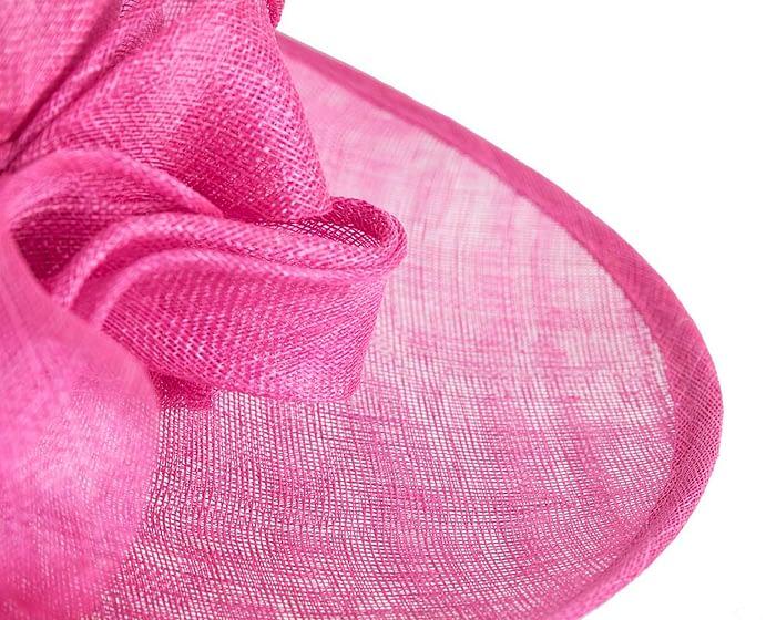 Fascinators Online - Wide brim fuchsia sinamay racing hat by Max Alexander 5