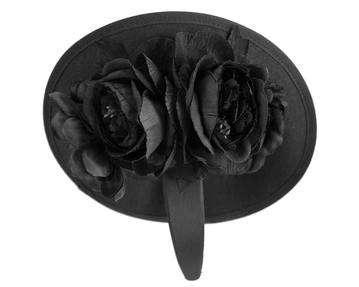 Fascinators Online - Large black plate with flowers by Fillies Collection 4