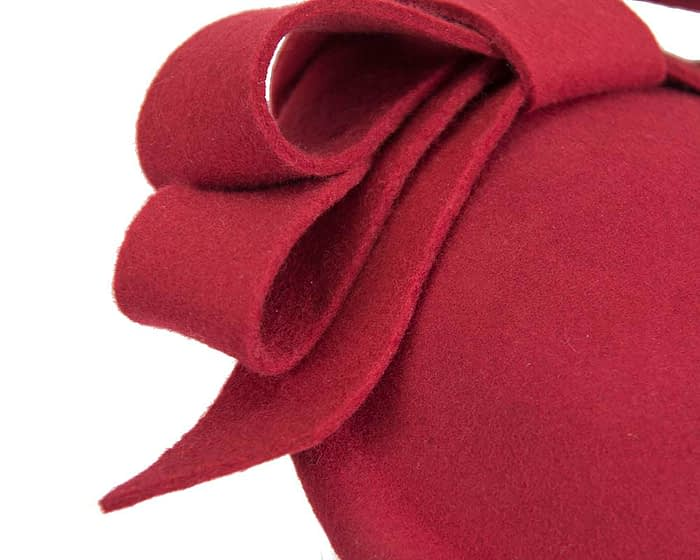 Fascinators Online - Large red felt fascinator hat by Fillies Collection 5