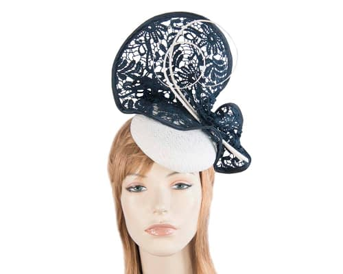Fascinators Online - White & Navy lace fascinator by Fillies Collection 1