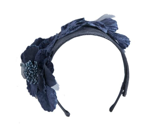 Fascinators Online - Navy flower headband fascinator by Max Alexander 2