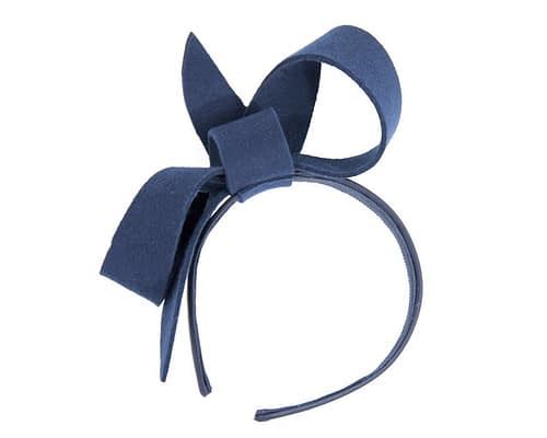 Fascinators Online - Navy felt bow winter racing fascinator 2