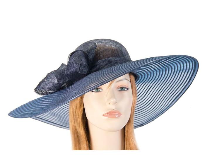 Fascinators Online - Wide brim navy fashion hat by Max Alexander 1