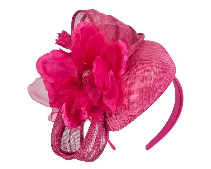 Fascinators Online - Fuchsia pillbox fascinator with large flower by Fillies Collection 2
