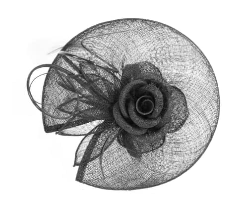 Fascinators Online - Large black sinamay racing fascinator with feathers by Max Alexander 2