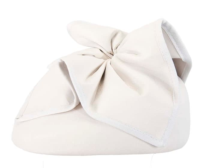Fascinators Online - White leather pillbox fascinator by Max Alexander 3