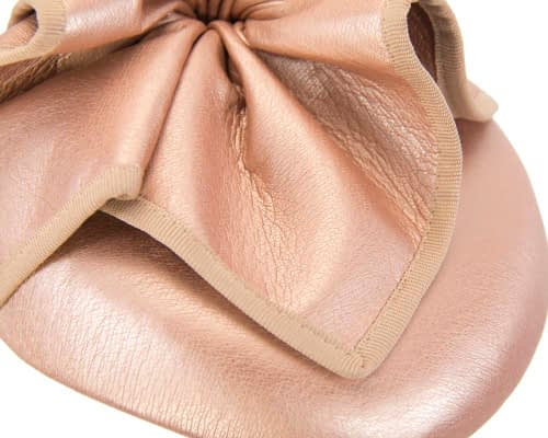 Fascinators Online - Rose gold leather pillbox fascinator by Max Alexander 5
