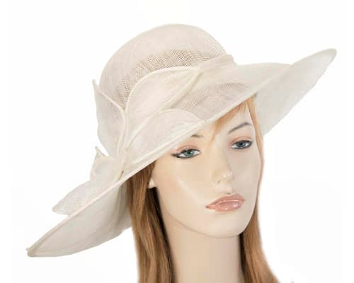 Fascinators Online - Large cream fashion hat by Max Alexander 40