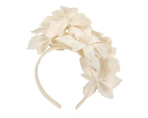Fascinators Online - Cream sculptured handcrafted flower fascinator by Fillies Collection 4