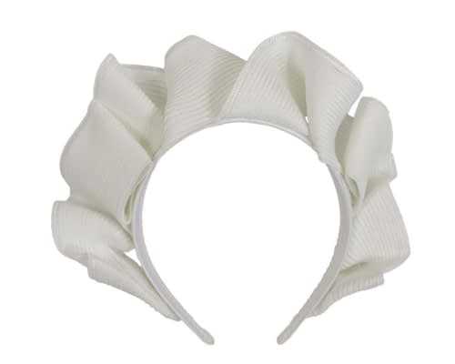 Fascinators Online - White PU leather crown fascinator by Max Alexander 2