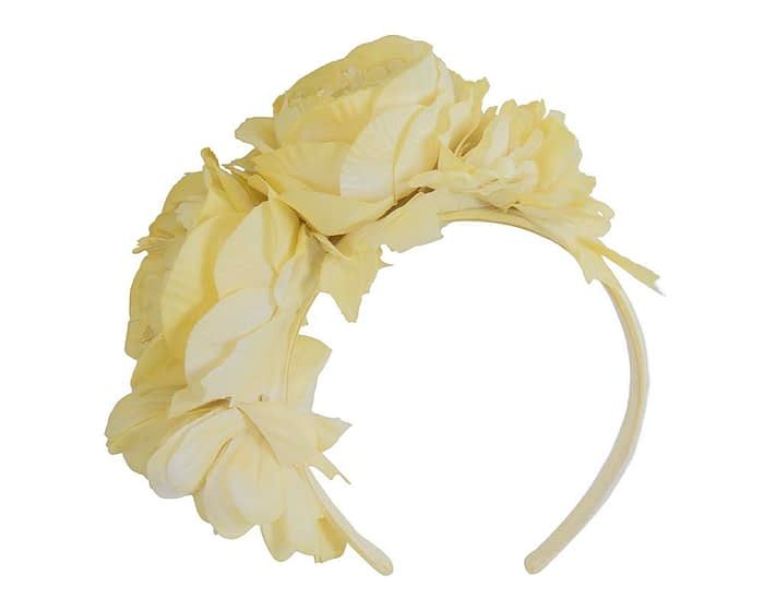 Fascinators Online - Yellow flower headband fascinator by Max Alexander 2