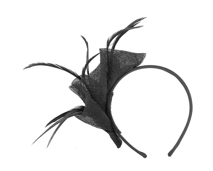Fascinators Online - Petite black sinamay fascinator with feathers by Max Alexander 4