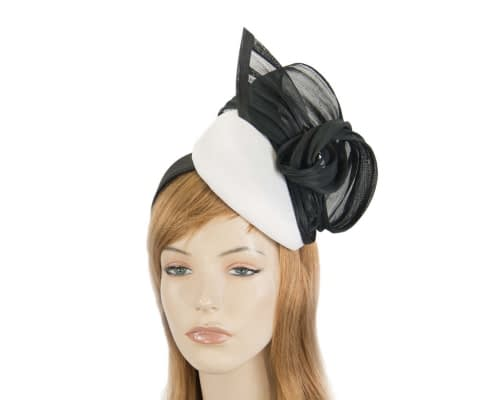 Fascinators Online - White & black pillbox fascinator with silk bow by Fillies Collection 1
