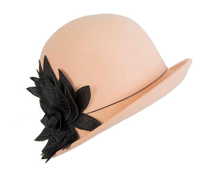 Fascinators Online - Beige felt cloche hat with lace by Max Alexander 2