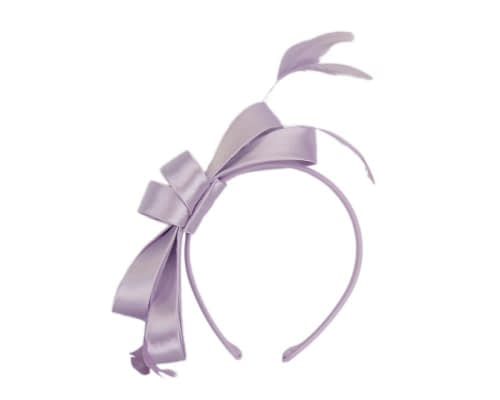 Fascinators Online - Lilac satin bow racing fascinator with feathers by Max Alexander 2