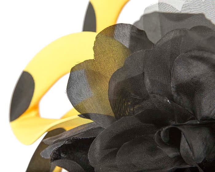 Fascinators Online - Large designers yellow and black fascinator by Fillies Collection 5