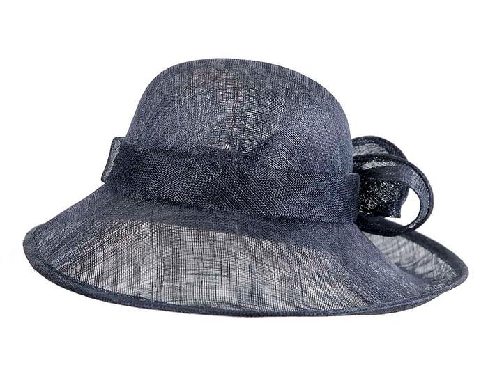 Fascinators Online - Wide brim navy sinamay racing hat by Max Alexander 4