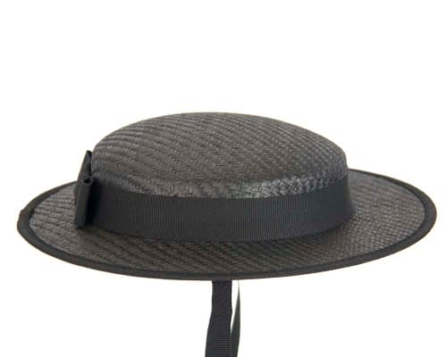 Fascinators Online - Small black boater fascinator hat by Max Alexander 3
