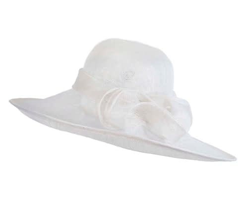 Fascinators Online - Wide brim white sinamay racing hat by Max Alexander 2