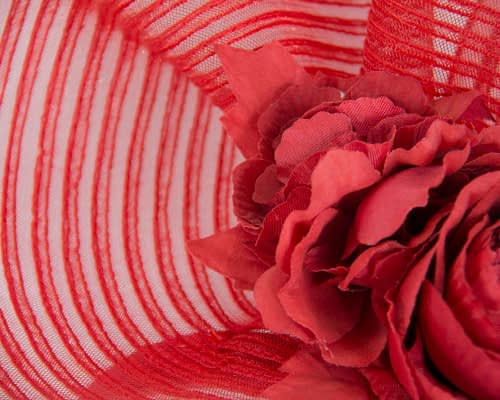 Fascinators Online - Large red racing fascinator with flowers by Fillies Collection 3