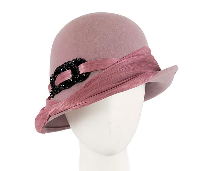 Fascinators Online - Fashion dusty pink felt cloche hat by Fillies Collection 1