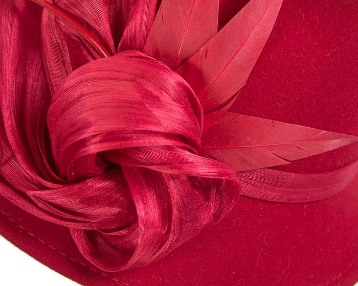 Fascinators Online - Exclusive red felt trilby hat by Fillies Collection 4