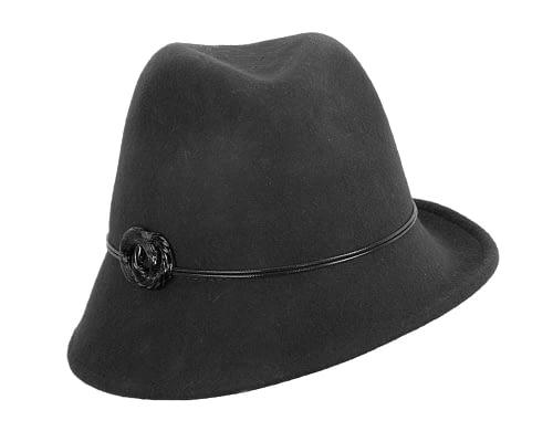 Fascinators Online - Black felt trilby hat by Max Alexander 3