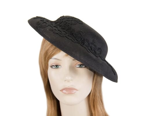 Fascinators Online - Black fashion boater hat with lace by Max Alexander 12