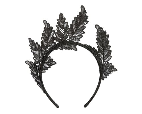 Fascinators Online - Black lace crown racing fascinator by Max Alexander 2