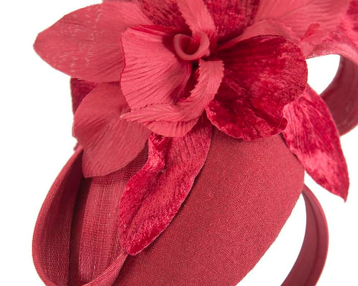 Fascinators Online - Tall red felt pillbox with flower by Fillies Collection 6