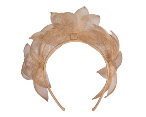 Fascinators Online - Gold crinoline crown racing fascinator by Max Alexander 2