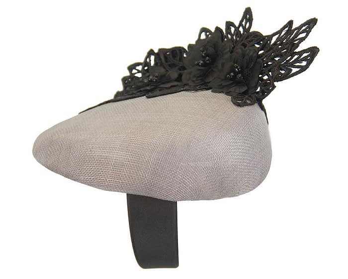 Fascinators Online - Silver pillbox with black lace by Fillies Collection 4