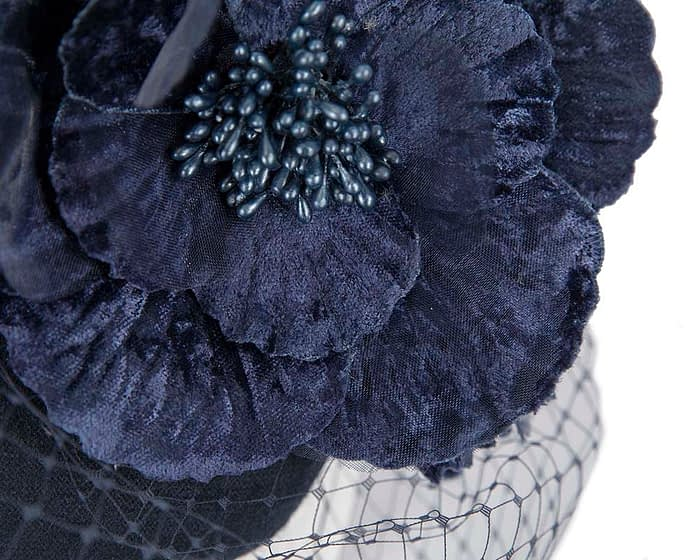 Fascinators Online - Navy Australian Made winter pillbox by Fillies Collection 4