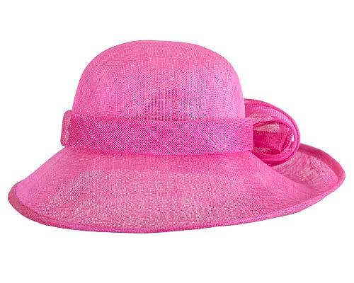 Fascinators Online - Wide brim fuchsia sinamay racing hat by Max Alexander 4