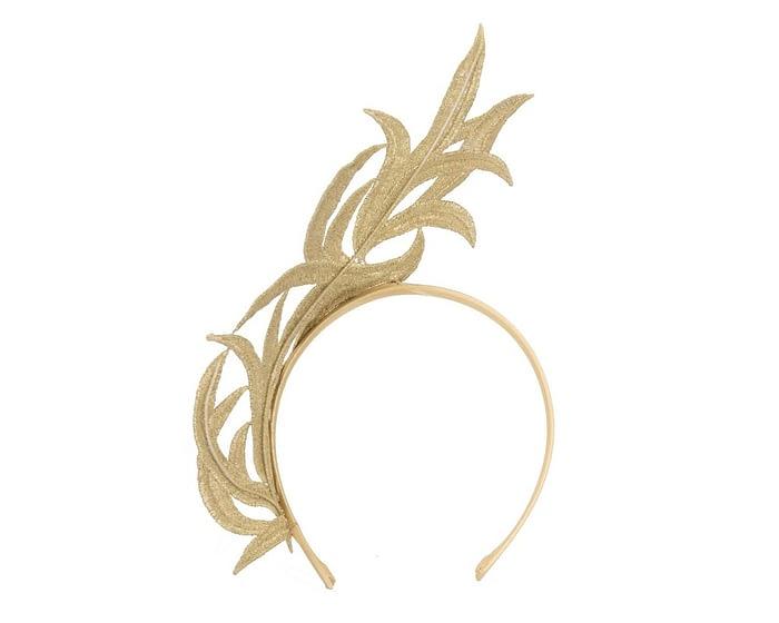 Fascinators Online - Gold lace crown fascinator by Max Alexander 4