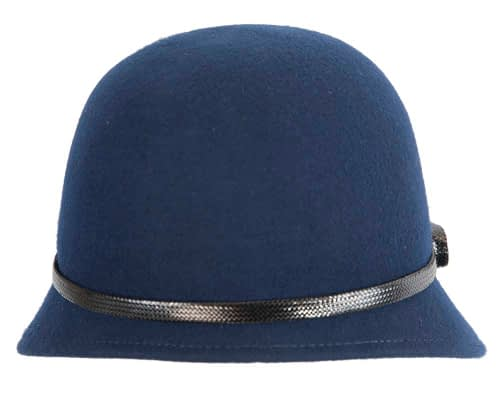 Fascinators Online - Navy felt cloche hat by Max Alexander 6