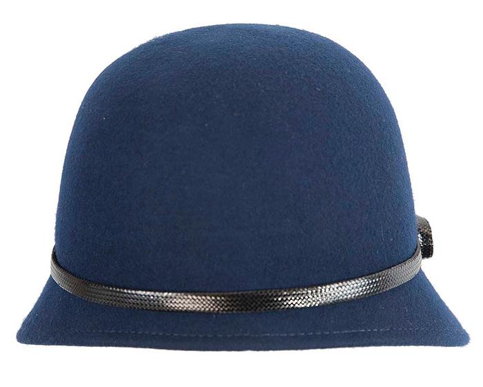 Fascinators Online - Navy felt cloche hat by Max Alexander 6