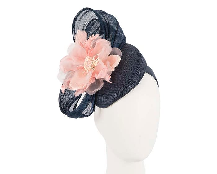 Fascinators Online - Navy pink pillbox fascinator with large flower by Fillies Collection 1