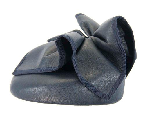 Fascinators Online - Navy leather pillbox fascinator by Max Alexander 3