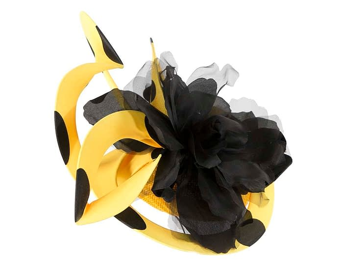 Fascinators Online - Large designers yellow and black fascinator by Fillies Collection 4