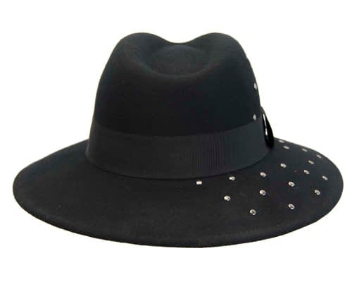Fascinators Online - Wide brim black felt fedora hat by Max Alexander 4