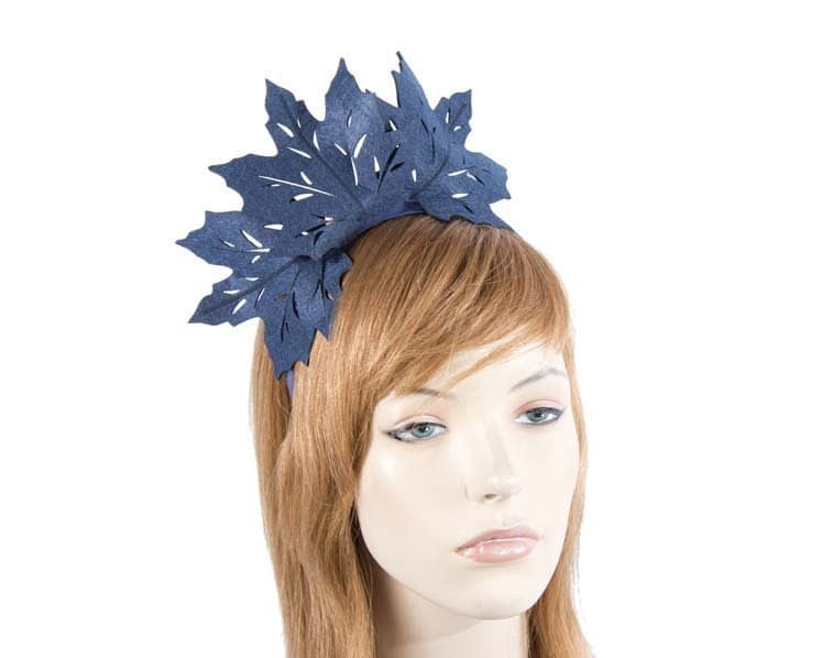 Navy laser-cut felt fascinator by Max Alexander