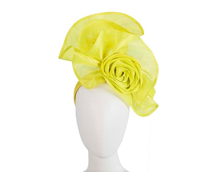 Fascinators Online - Yellow sculptured silk abaca fascinator by Fillies Collection 1