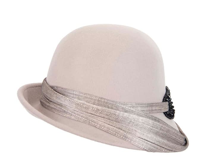 Fascinators Online - Fashion silver grey felt cloche hat by Fillies Collection 5