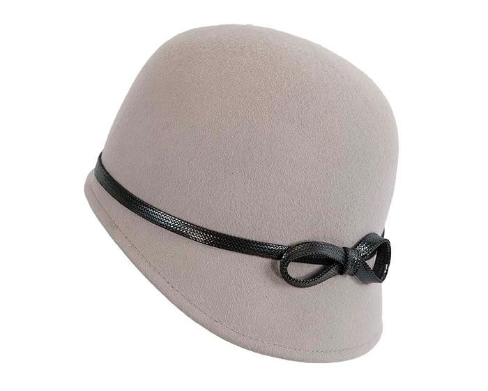 Fascinators Online - Grey felt cloche hat by Max Alexander 2