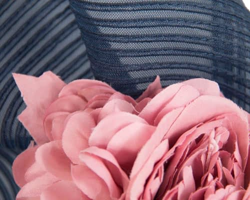 Fascinators Online - Large navy racing fascinator with pink flowers by Fillies Collection 3