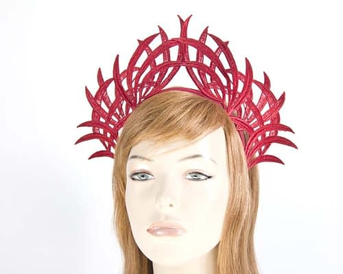 Red lace crown fascinator