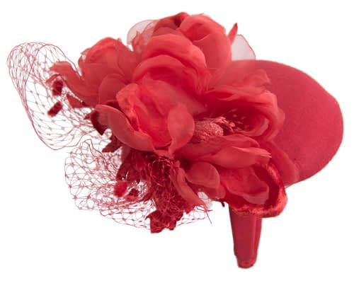 Fascinators Online - Red pillbox fascinator with flower by Fillies Collection 6