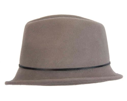 Fascinators Online - Grey felt trilby hat by Max Alexander 3