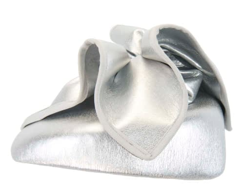 Fascinators Online - Silver leather pillbox fascinator by Max Alexander 3